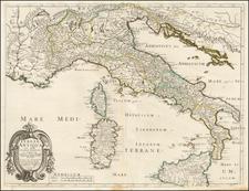 Italy Map By Melchior Tavernier / Nicolas Sanson