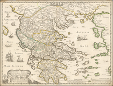 Greece Map By Melchior Tavernier / Pierre Mariette / Nicolas Sanson