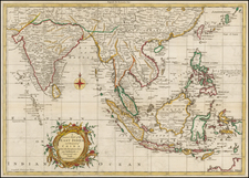 China, India, Southeast Asia and Philippines Map By Thomas Kitchin