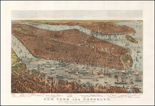 New York City Map By Nathaniel Currier  &  James Merritt Ives