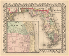 South and Southeast Map By Samuel Augustus Mitchell Jr.