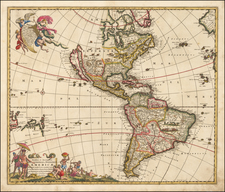 South America and America Map By Frederick De Wit