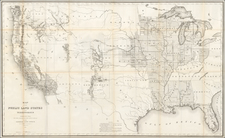 United States, Texas, Plains, Rocky Mountains and California Map By U.S. General Land Office