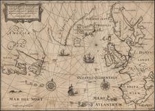 Atlantic Ocean and Canada Map By Nicholas Van Geelkercken