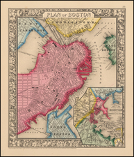 New England and Boston Map By Samuel Augustus Mitchell Jr.