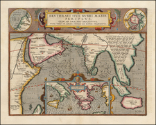 Polar Maps, Indian Ocean, Greece, Mediterranean, India, Southeast Asia, Other Islands, Central Asia & Caucasus and Middle East Map By Abraham Ortelius