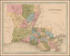 South and Louisiana Map By Thomas Gamaliel Bradford