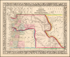 Rocky Mountains, Oregon and Washington Map By Samuel Augustus Mitchell Jr.