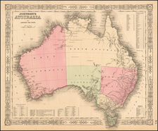 Australia Map By Alvin Jewett Johnson  &  Browning