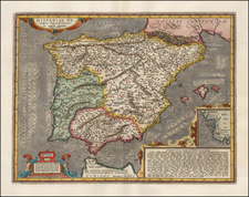 Spain, Portugal and Balearic Islands Map By Abraham Ortelius