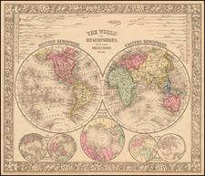 The World In Hemispheres. With Other Projections &c. &c. By Samuel Augustus Mitchell Jr.