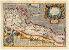 Mediterranean and North Africa Map By Abraham Ortelius