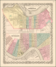 South, Midwest and New Orleans Map By Joseph Hutchins Colton