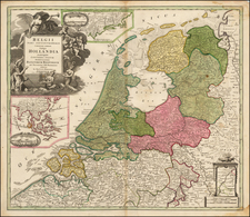New England and Netherlands Map By Johann Baptist Homann