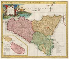 Italy, Malta and Sicily Map By John Senex