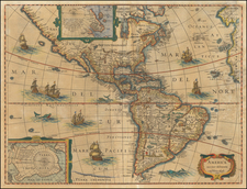 South America and America Map By Henricus Hondius