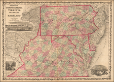 Mid-Atlantic and Southeast Map By Alvin Jewett Johnson  &  Browning