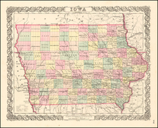 Iowa Map By Joseph Hutchins Colton