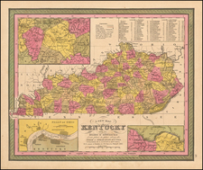 A New Map Of Kentucky with its Canals, Roads, Distances from Place to Place, along the Stage & Steam Boat Routes… By Samuel Augustus Mitchell