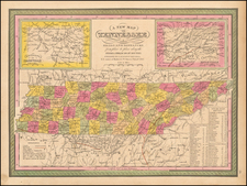 Tennessee Map By Samuel Augustus Mitchell