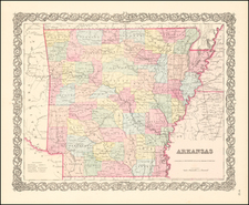 South and Arkansas Map By Joseph Hutchins Colton