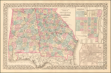 Alabama, Southeast and Georgia Map By Samuel Augustus Mitchell Jr.