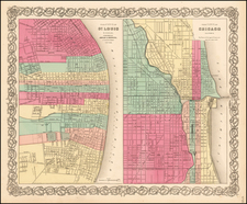 Midwest and Chicago Map By Joseph Hutchins Colton