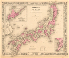 Japan Map By Alvin Jewett Johnson  &  Browning