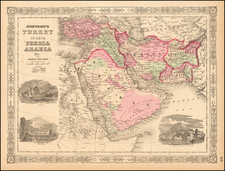 Middle East and Turkey & Asia Minor Map By Benjamin P Ward  &  Alvin Jewett Johnson