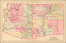 Southwest, Arizona and New Mexico Map By Samuel Augustus Mitchell Jr.