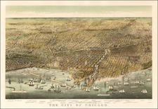 Chicago Map By Nathaniel Currier  &  James Merritt Ives