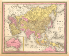 Asia, Australia & Oceania and Australia Map By Samuel Augustus Mitchell