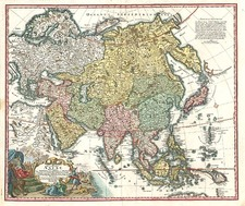 Asia, Asia, Southeast Asia, Australia & Oceania and Oceania Map By Johann Christoph Homann