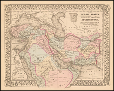 Central Asia & Caucasus, Middle East and Turkey & Asia Minor Map By Samuel Augustus Mitchell Jr.