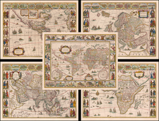 World, World, South America, Europe, Europe, Asia, Asia, Africa, Africa and America Map By Willem Janszoon Blaeu
