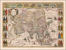 Asia and Asia Map By Willem Janszoon Blaeu