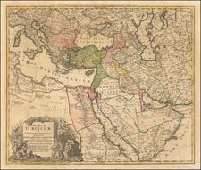 Turkey, Mediterranean, Middle East and Turkey & Asia Minor Map By Johann Baptist Homann