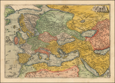 World, World, Europe, Europe, Asia, Asia, Middle East and Turkey & Asia Minor Map By Frans Hogenberg