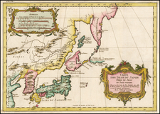 Japan and Korea Map By Jacques Nicolas Bellin