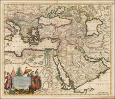 Turkey, Middle East, Turkey & Asia Minor and Egypt Map By Justus Danckerts