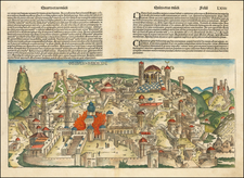 Holy Land and Jerusalem Map By Hartmann Schedel