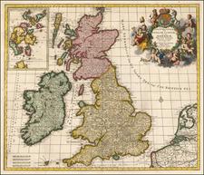 British Isles Map By Johannes Covens  &  Cornelis Mortier