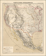 Texas, Plains, Southwest, Rocky Mountains and California Map By Heinrich Kiepert
