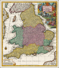 England Map By Matthaus Seutter