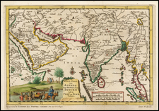 Asia, India, Southeast Asia and Middle East Map By Pieter van der Aa