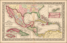 Map of Mexico, Central America, and the West Indies [Insets of Bermuda, Cuba, Jamaica and Panama Railroad] By Samuel Augustus Mitchell Jr.