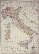 Europe and Italy Map By William Rand  &  Andrew McNally