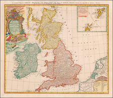Magna Britannia complectens Angliae, Scotiae et Hyberniae Regna in suas Provincias et Comitatus divisa . . . / A General Map of Great Britain and Ireland with Part of Holland, Flanders, France &c. Agreable to modern History By Homann Heirs