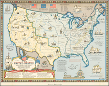 United States and Pictorial Maps Map By Karl Smith / Linweave