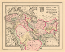 Map of Persia, Arabia, Turkey in Asia, Afghanistan, Beloochistan. By Samuel Augustus Mitchell Jr.